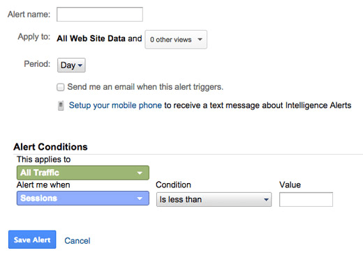 Google analytics custom alert screenshot