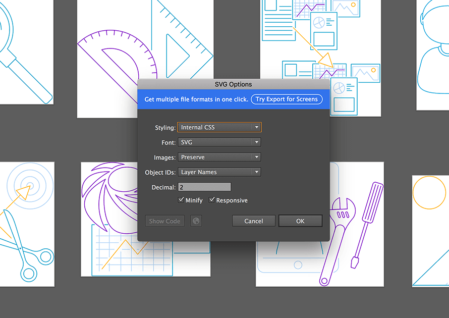 Exporting SVG in Adobe Illustrator