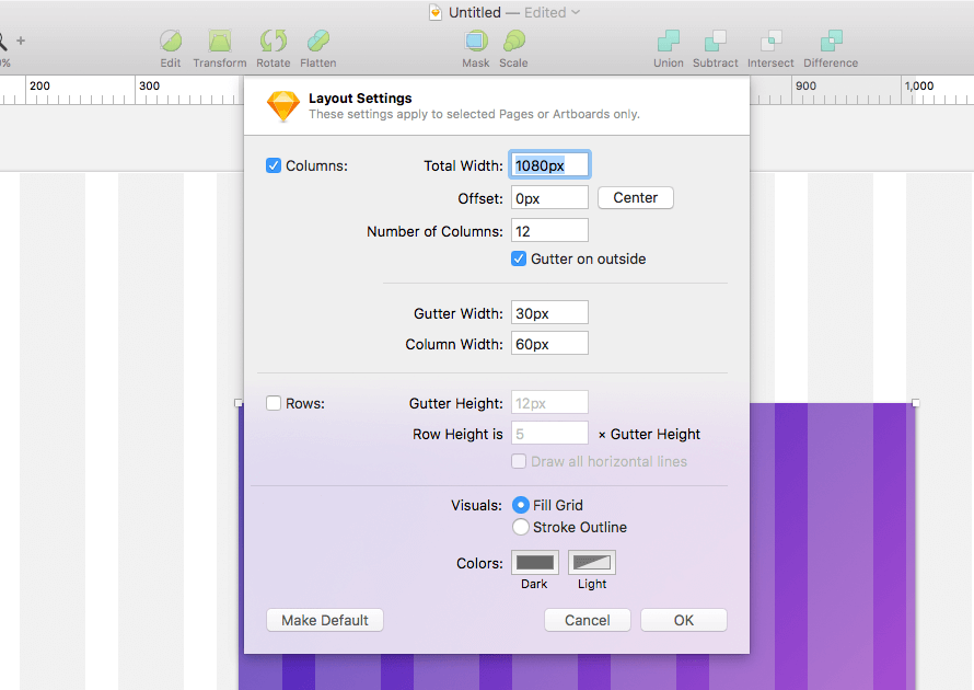Layout Settings in Sketch