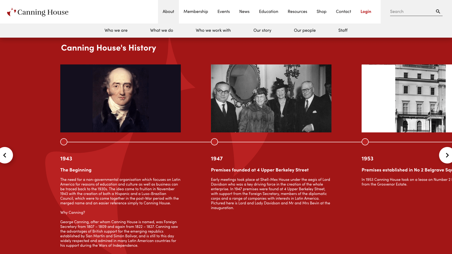 Canning House History Website UI