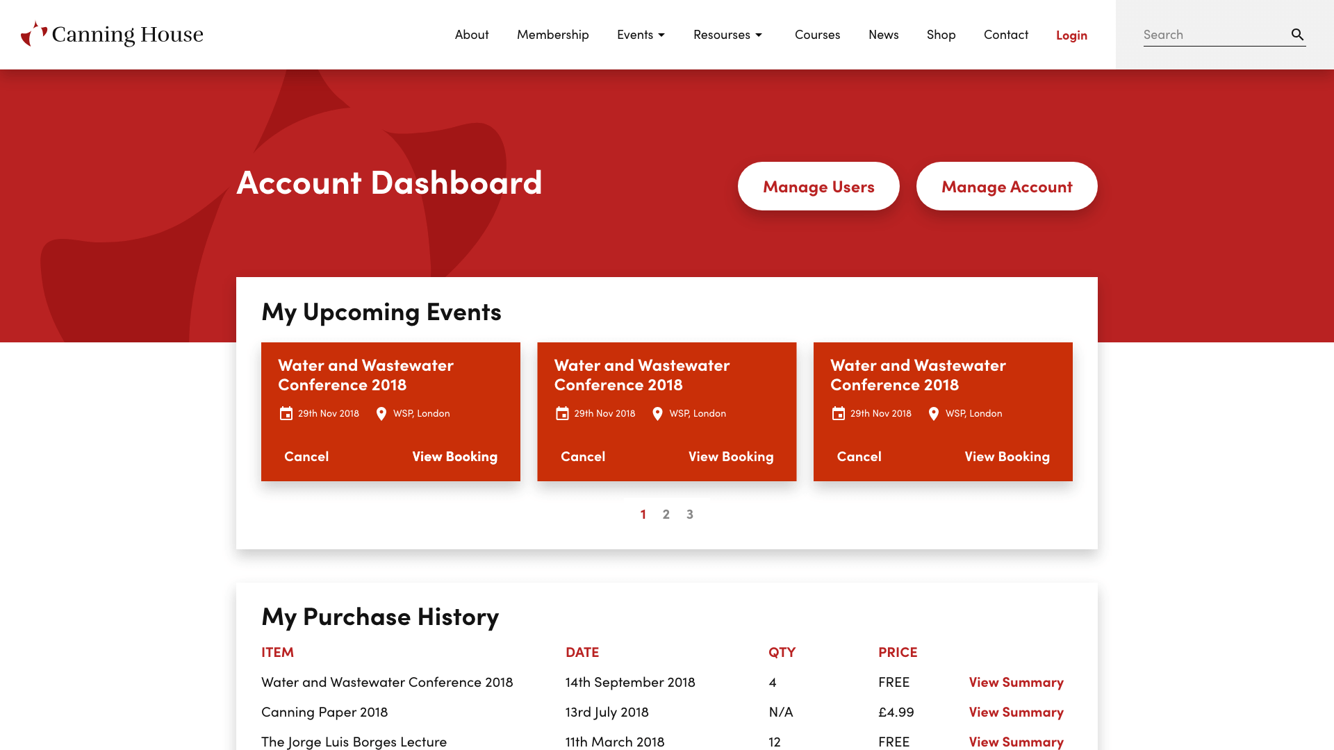Canning House Account Dashboard Design