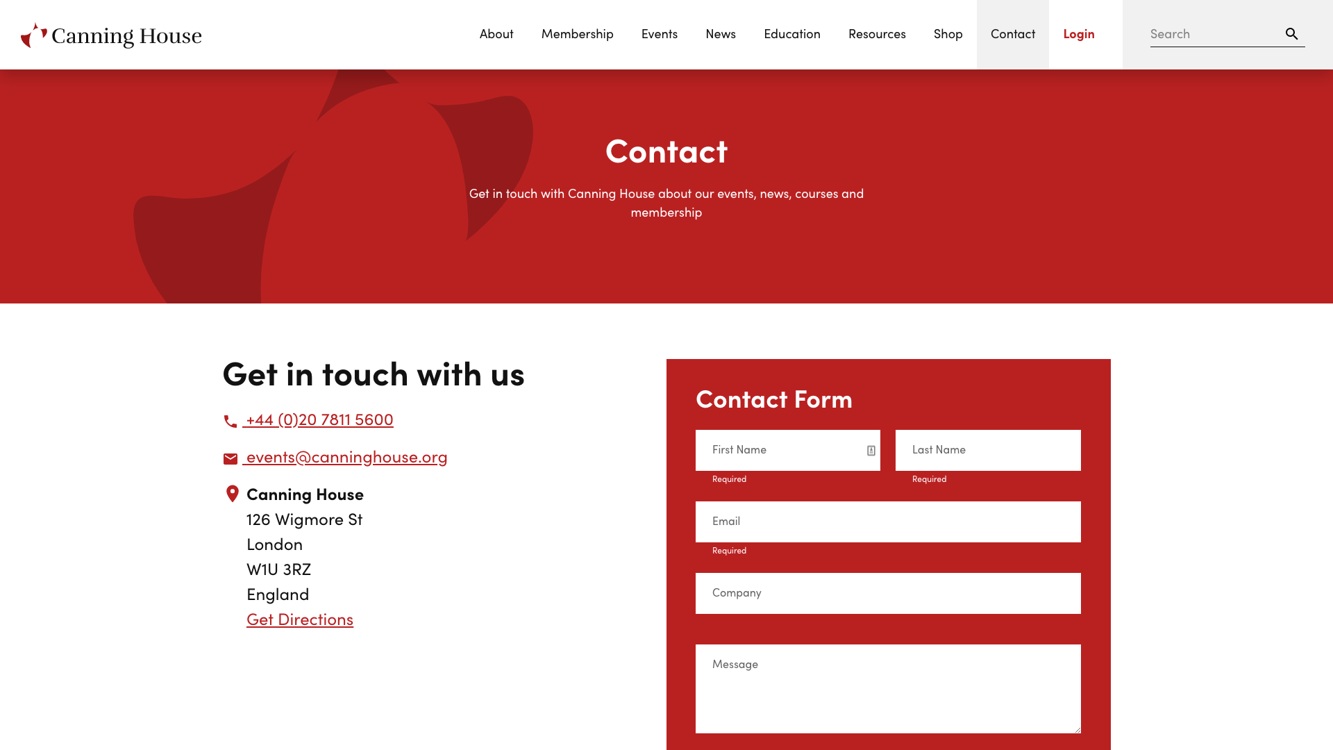 Canning House Contact Page Design