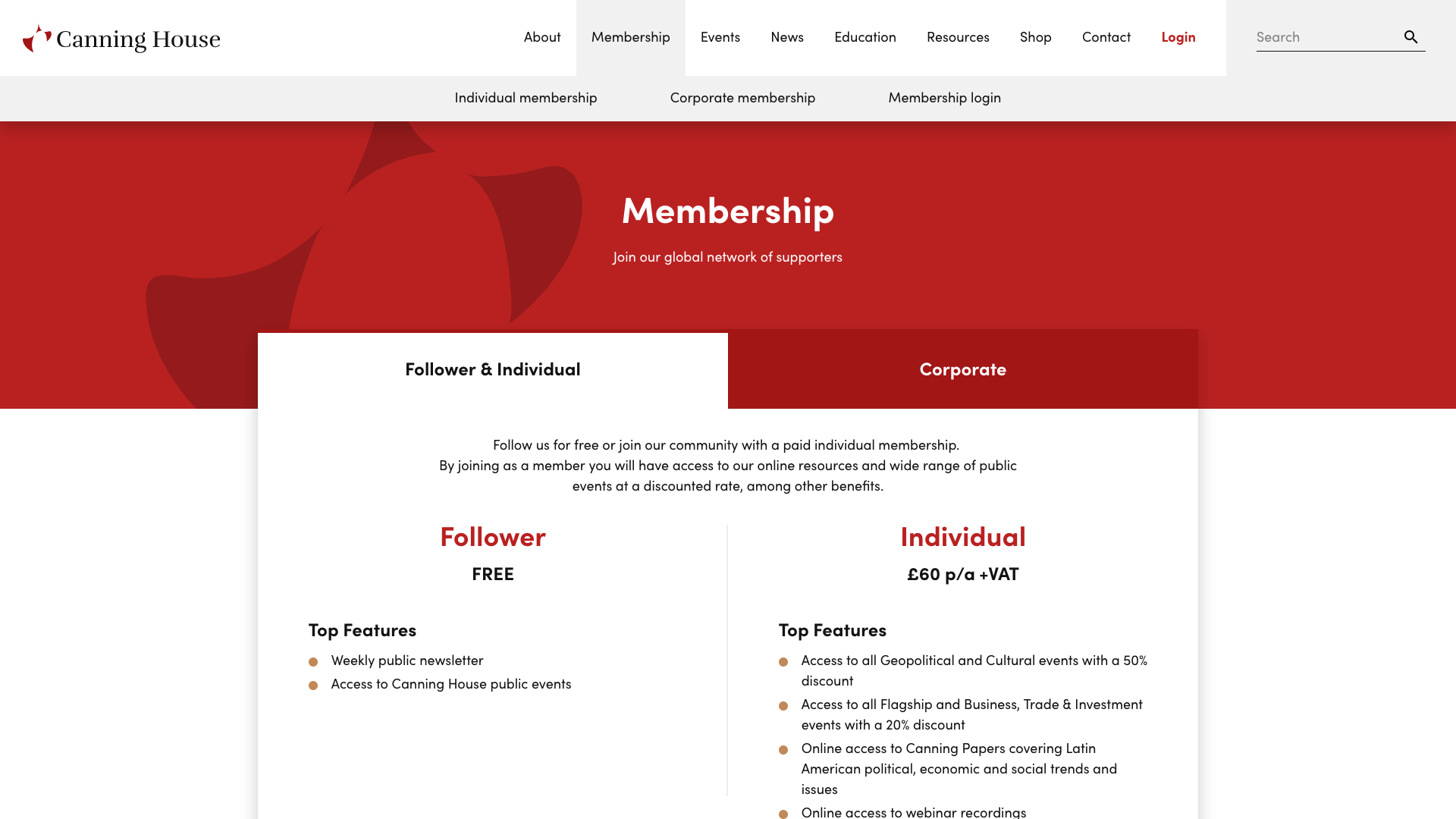 Canning House Membership Website Design