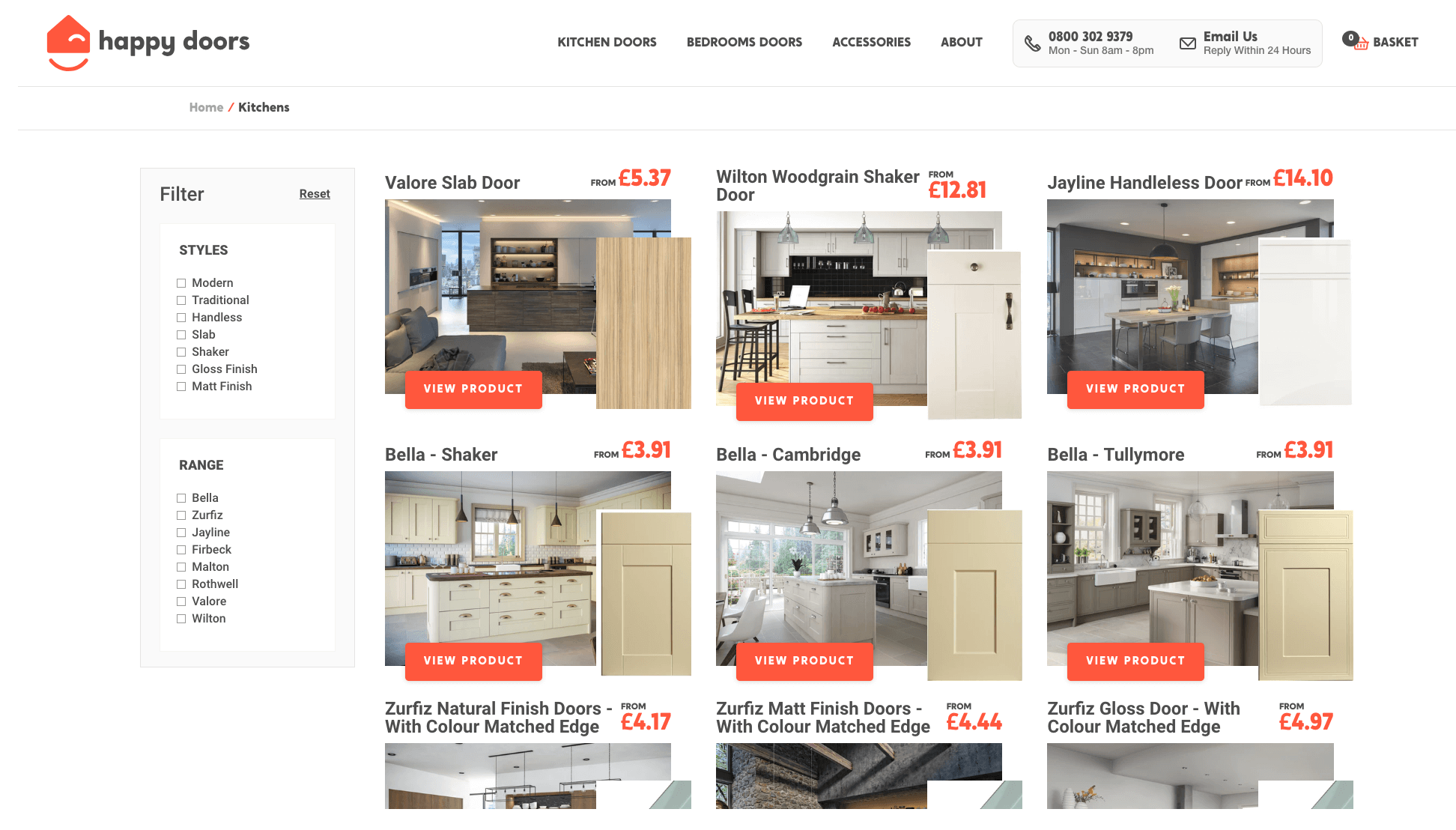 Happy Doors Product Listing Page