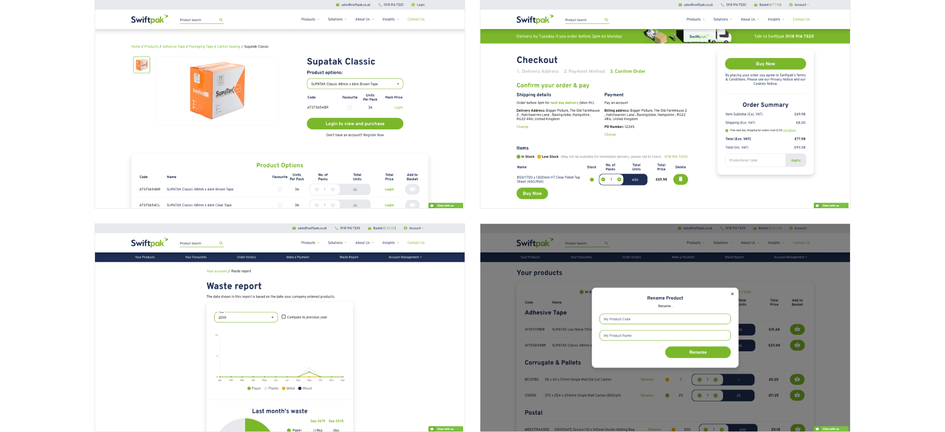Swiftpak Checkout flow